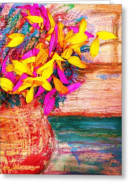 Flowers By Window Greeting Card by Anne-Elizabeth Whiteway