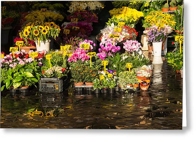 Flowers For Sale At Campo De Fiori - My Favourite Market In Rome Italy Greeting Card