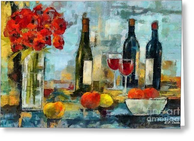 Flowers Fruit And Wine Greeting Card by Elizabeth Coats