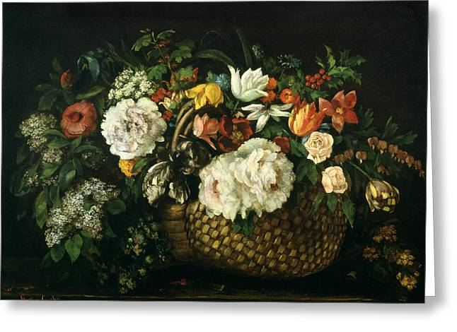 Flowers In A Basket, 1863 Greeting Card by Gustave Courbet