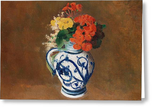 Flowers In A Blue Vase Greeting Card by Odilon Redon