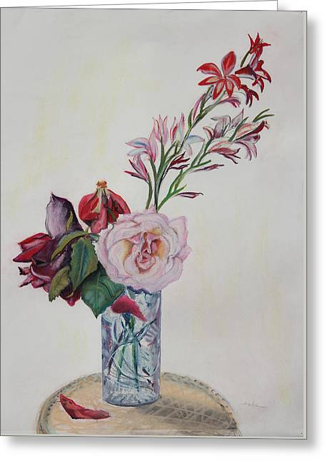 Flowers In A Crystal Vase Greeting Card