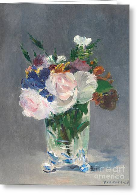 Flowers In A Crystal Vase Greeting Card by Edouard Manet