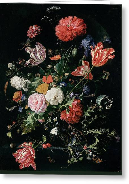 Flowers In A Glass Vase, Circa 1660 Greeting Card