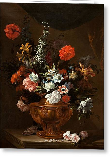 Flowers In A Sculptured Vase Greeting Card by Jean-Baptiste Monnoyer