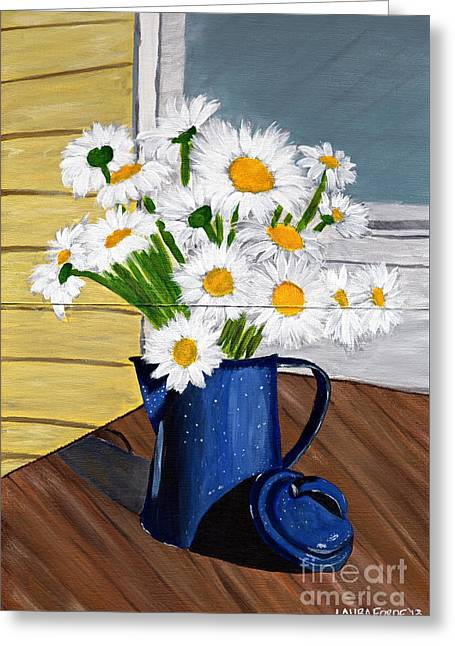 Greeting Card featuring the painting Flowers In A Teapot by Laura Forde