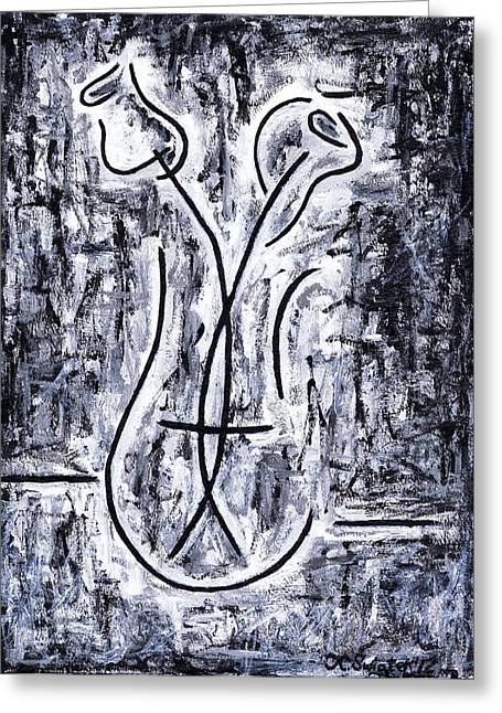 Flowers In A Vase Greeting Card by Kamil Swiatek