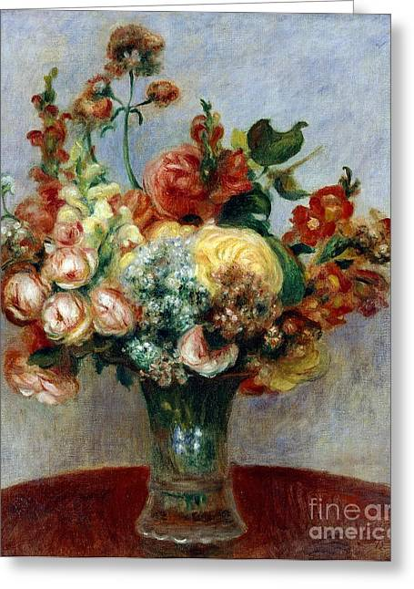 Flowers In A Vase Greeting Card by Pierre-Auguste Renoir