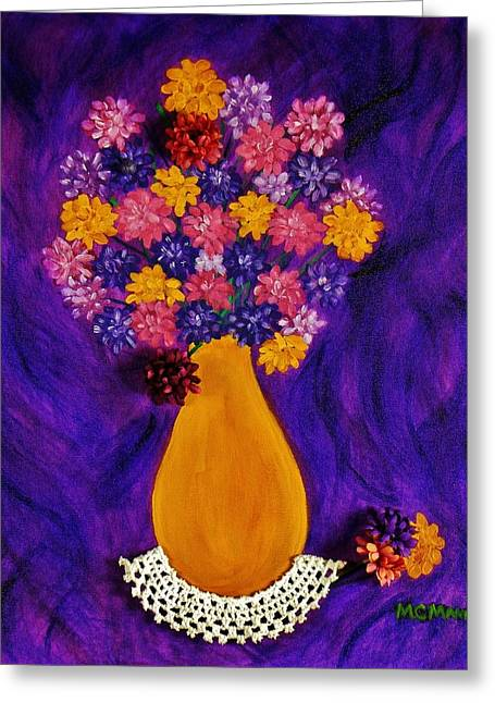 Flowers In A Yellow Vase Greeting Card