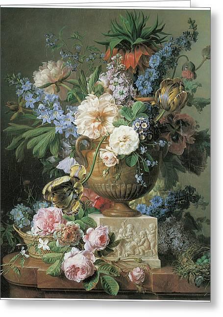 Flowers In An Alabaster Vase Greeting Card by Gerard Van Spaendonck