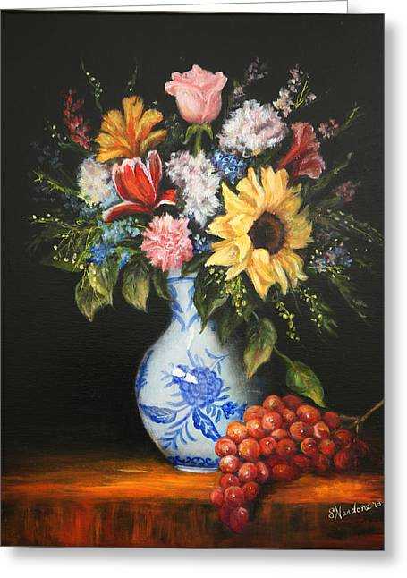 Greeting Card featuring the painting Flowers In Blue And White Vase by Sandra Nardone