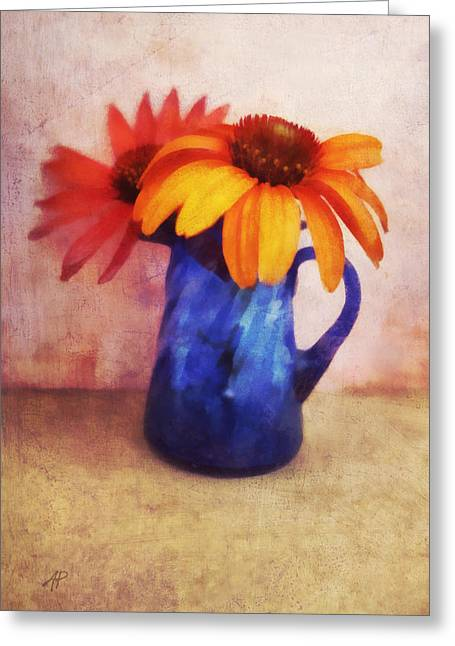 Flowers In  Blue Vase Greeting Card by Ann Powell