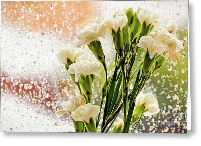 Flowers In Digital Impasto Greeting Card