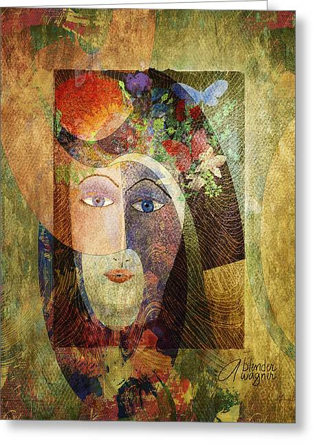 Greeting Card featuring the digital art Flowers In Her Hair by Arline Wagner