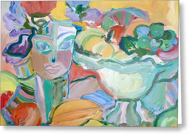 Flowers In Her Hat Greeting Card by Brenda Ruark