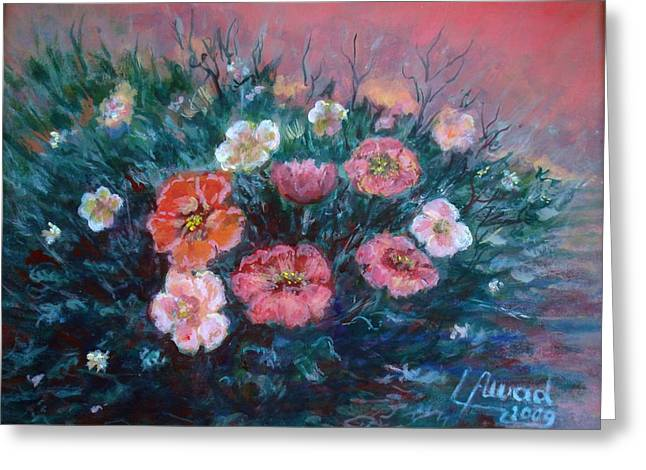 Greeting Card featuring the painting Flowers In My Garden. by Laila Awad Jamaleldin