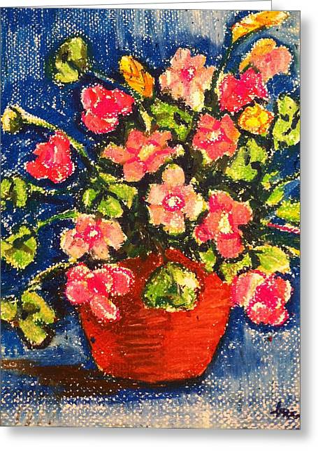 Flowers In Orange Pot Greeting Card
