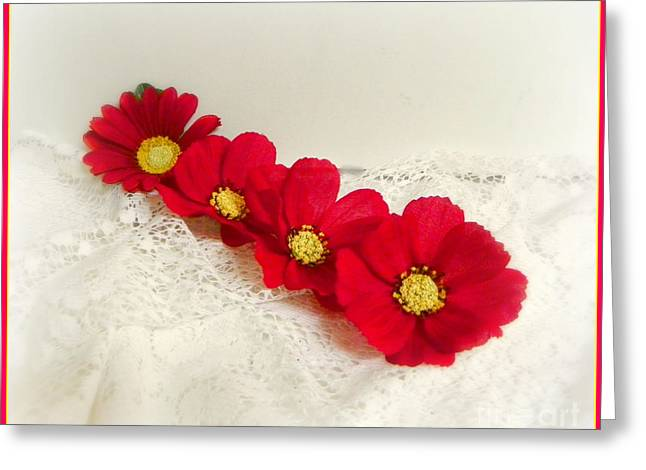 Flowers In Red Greeting Card by Carol Grenier