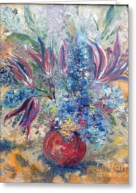 Flowers In Red Vase Greeting Card by Irene Pomirchy