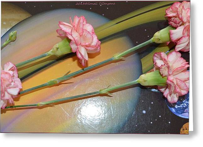 Flowers In Space Greeting Card by Sonali Gangane