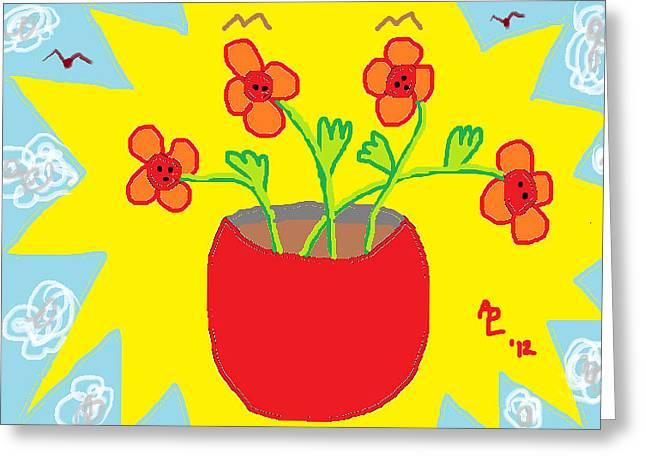 Greeting Card featuring the painting Flowers In The Sun by Anita Dale Livaditis