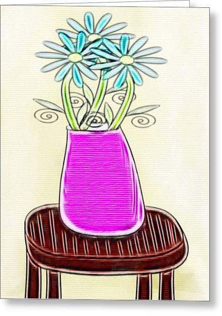 Flowers In Vase - Digital Artwork Greeting Card by Gina Lee Manley