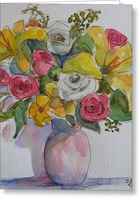Vase With Flowers  Greeting Card by Janet Butler