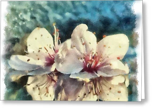Flowers In Water Greeting Card by Desmond De Jager