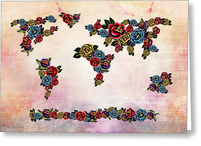 Flowers Map  Greeting Card by Mark Ashkenazi