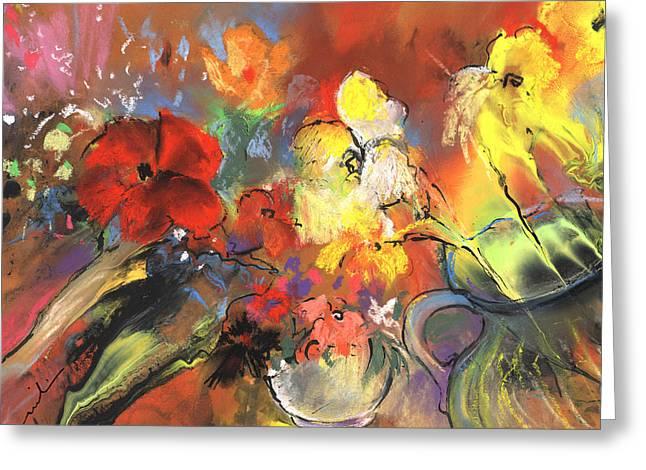 Flowers Of Joy Greeting Card by Miki De Goodaboom