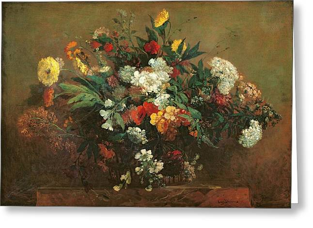 Flowers Greeting Card by Ferdinand Victor Eugene Delacroix