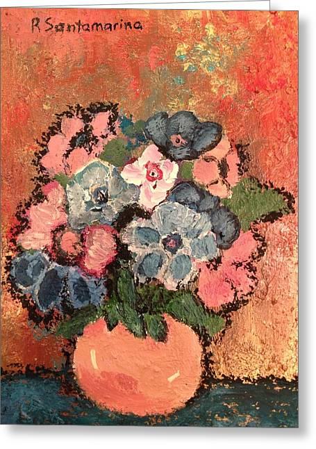 flowers on Bronze Greeting Card by Rodrigo Santamarina