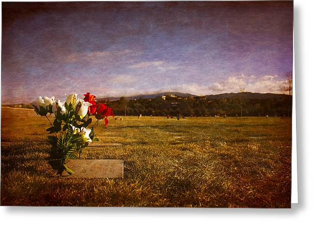 Flowers On Memorial Greeting Card by Dave Garner