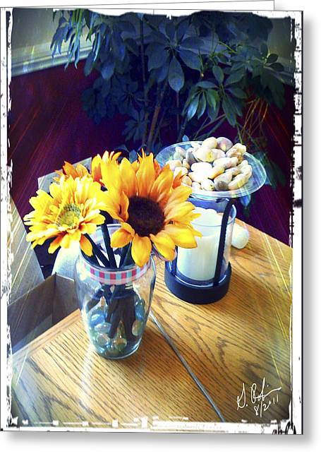 Flowers On Table Greeting Card by Gerry Robins