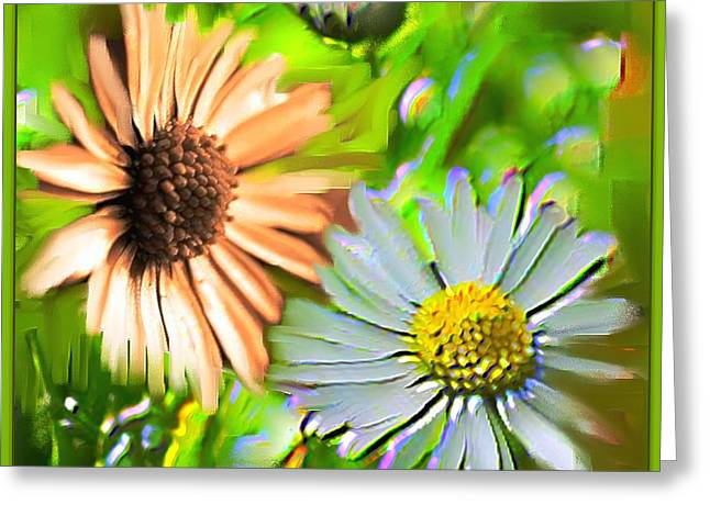Flowers Orange And Blue Greeting Card by Nedunseralathan R
