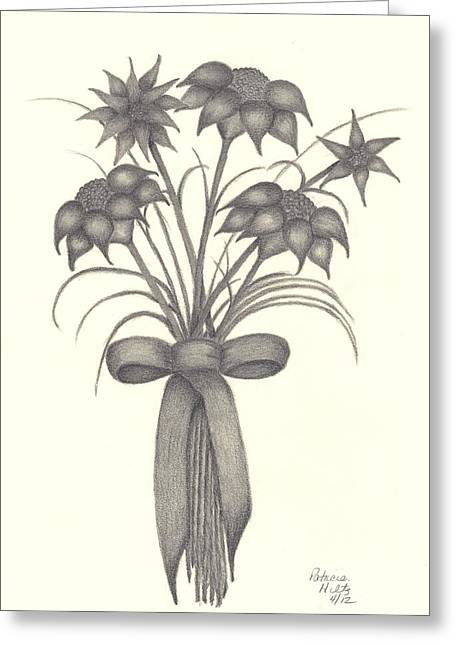 Greeting Card featuring the drawing Flowers by Patricia Hiltz