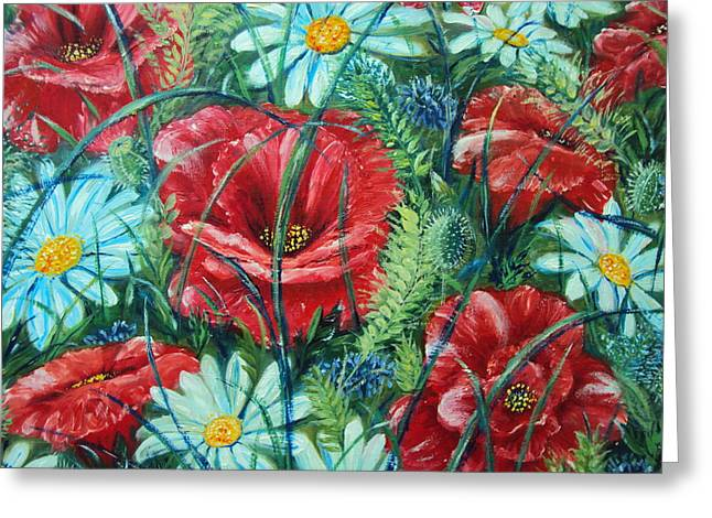Flowers Poppies And Daisies Greeting Card by Drinka Mercep