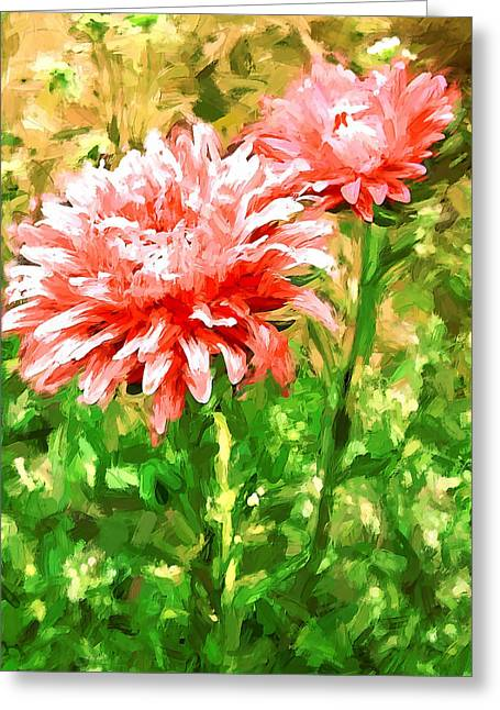 Flowers Red On Green Greeting Card by Yury Malkov