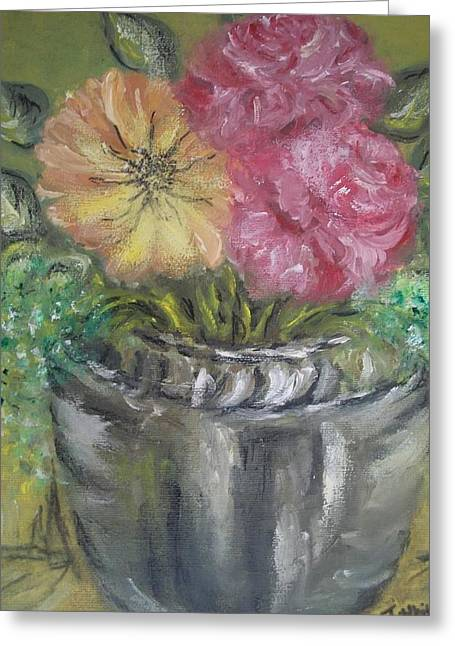 Greeting Card featuring the painting Flowers by Teresa White