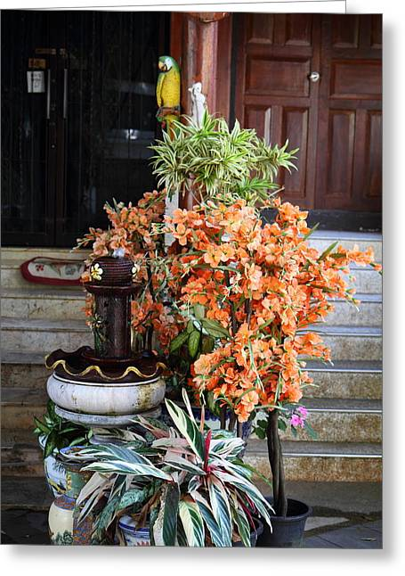 Flowers - Wat Phrathat Doi Suthep - Chiang Mai Thailand - 01134 Greeting Card by DC Photographer