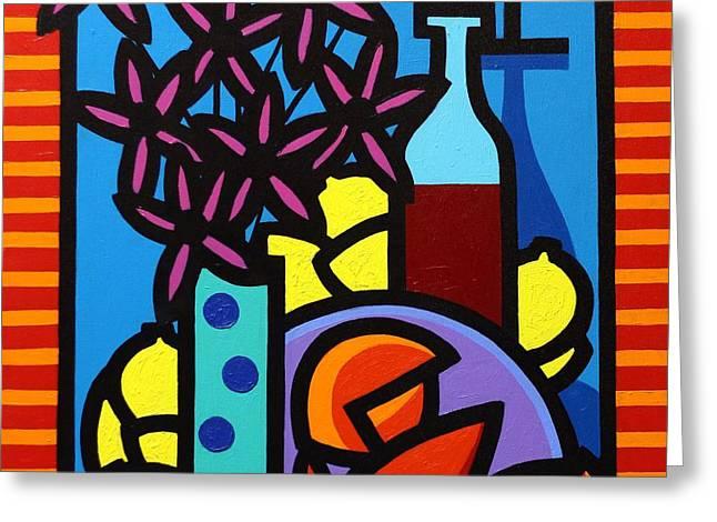 Flowers Wine Lobster And Lemons Greeting Card by John  Nolan