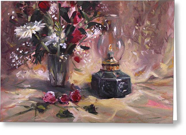 Flowers With Lantern Greeting Card by Nancy Griswold