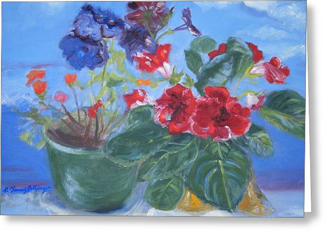 Flowers With The Sky  Greeting Card by Patricia Kimsey Bollinger