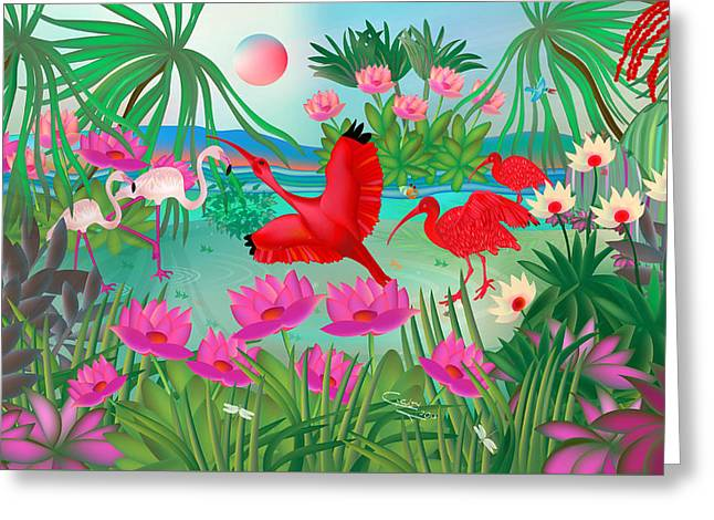 Flowery Lagoon - Limited Edition 1 Of 20 Greeting Card
