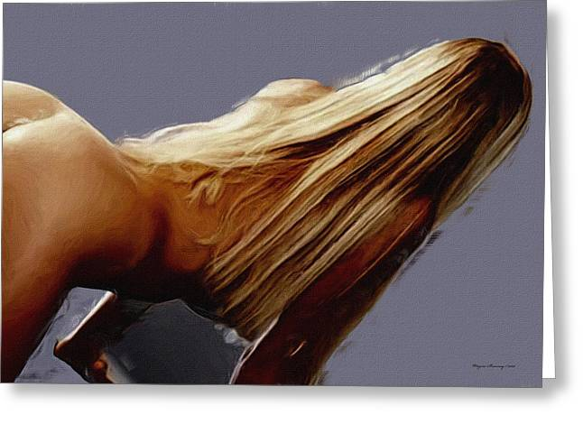 Flowing Blonde Greeting Card by Wayne Bonney
