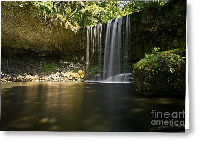 Flowing Falls In Summer Greeting Card by Jackie Follett