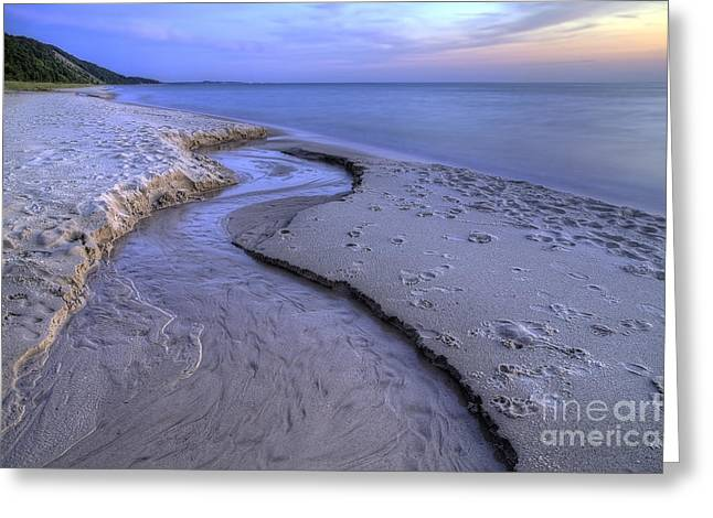 Flowing Into Lake Michigan Greeting Card by Twenty Two North Photography