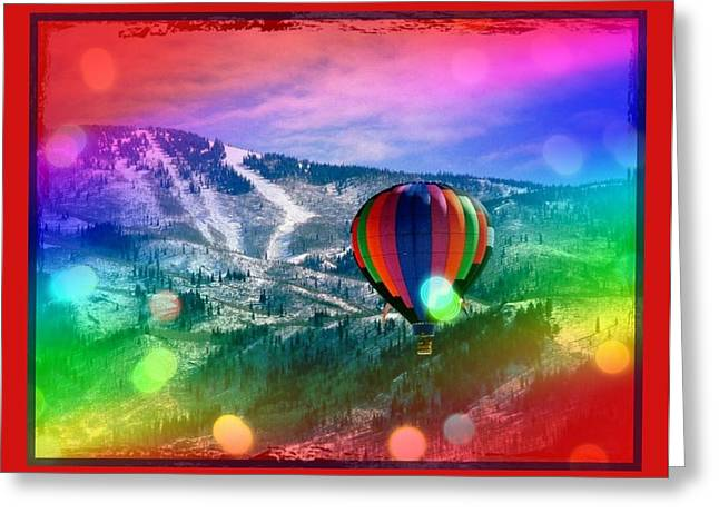 Flowing Rainbow Balloon Greeting Card by Tracie Howard