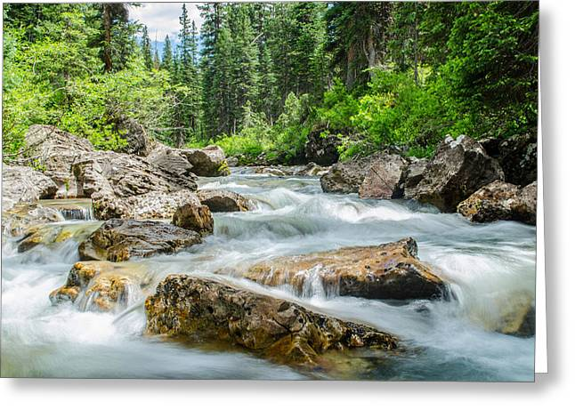 Flowing River Greeting Card by Mike Schmidt