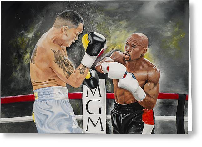 Floyd Mayweather Greeting Card by Don Medina